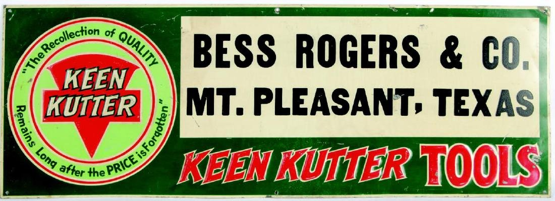 A VINTAGE KEEN KUTTER ENAMEL ADVERTISING SIGN