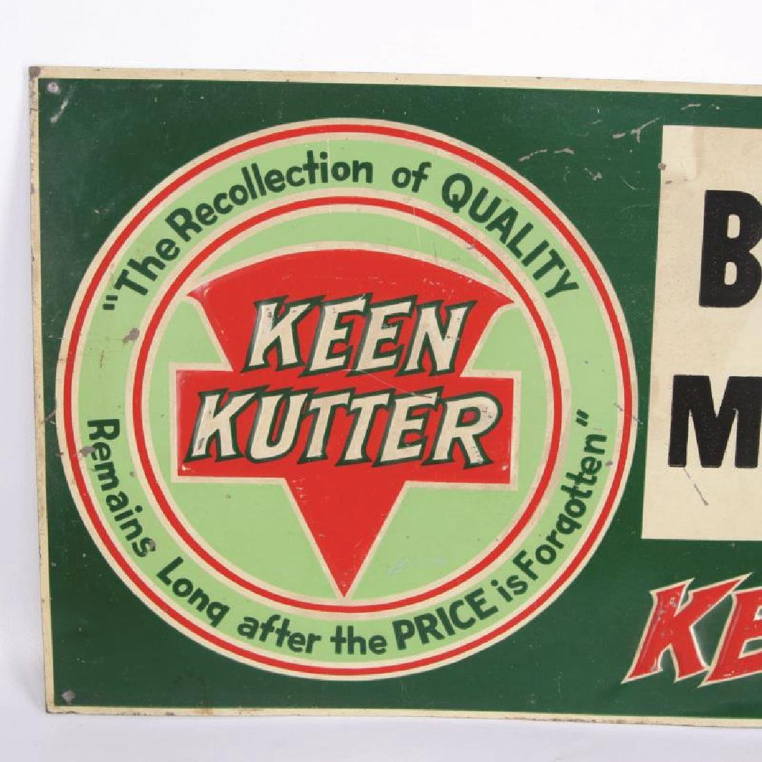 A VINTAGE KEEN KUTTER ENAMEL ADVERTISING SIGN - 2