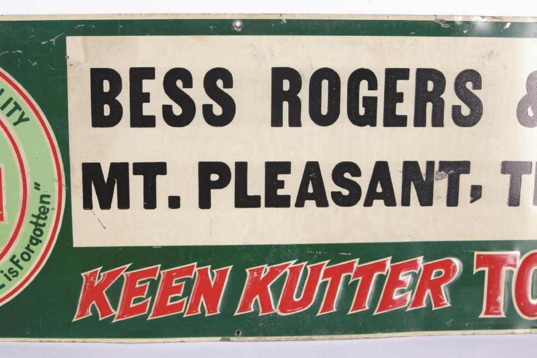 A VINTAGE KEEN KUTTER ENAMEL ADVERTISING SIGN - 3