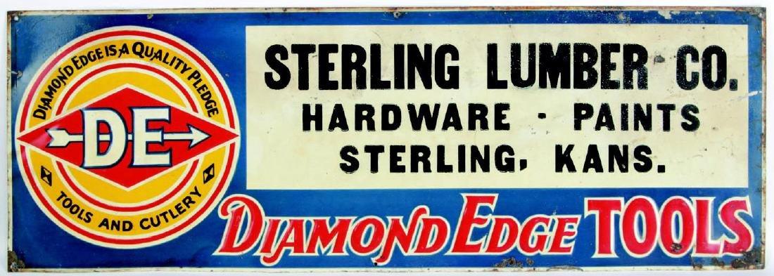 VINTAGE DIAMOND EDGE TOOLS ENAMEL ADVERTISING SIGN