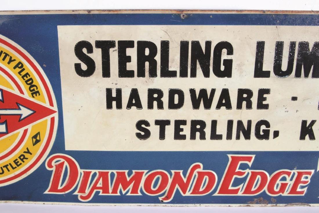 VINTAGE DIAMOND EDGE TOOLS ENAMEL ADVERTISING SIGN - 3