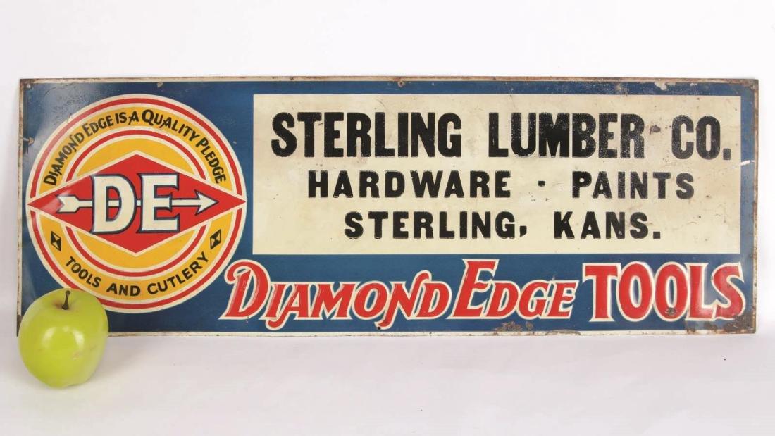 VINTAGE DIAMOND EDGE TOOLS ENAMEL ADVERTISING SIGN - 7