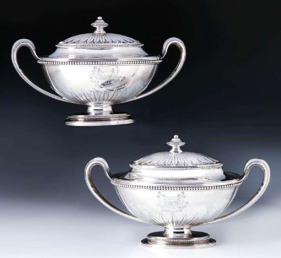 A PAIR GEORGE III STERLING SILVER SAUCE TUREENS