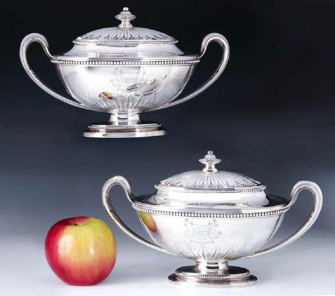A PAIR GEORGE III STERLING SILVER SAUCE TUREENS - 3