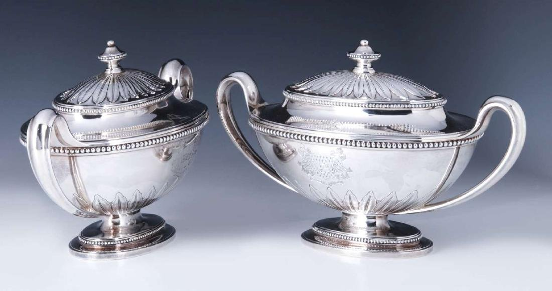 A PAIR GEORGE III STERLING SILVER SAUCE TUREENS - 7