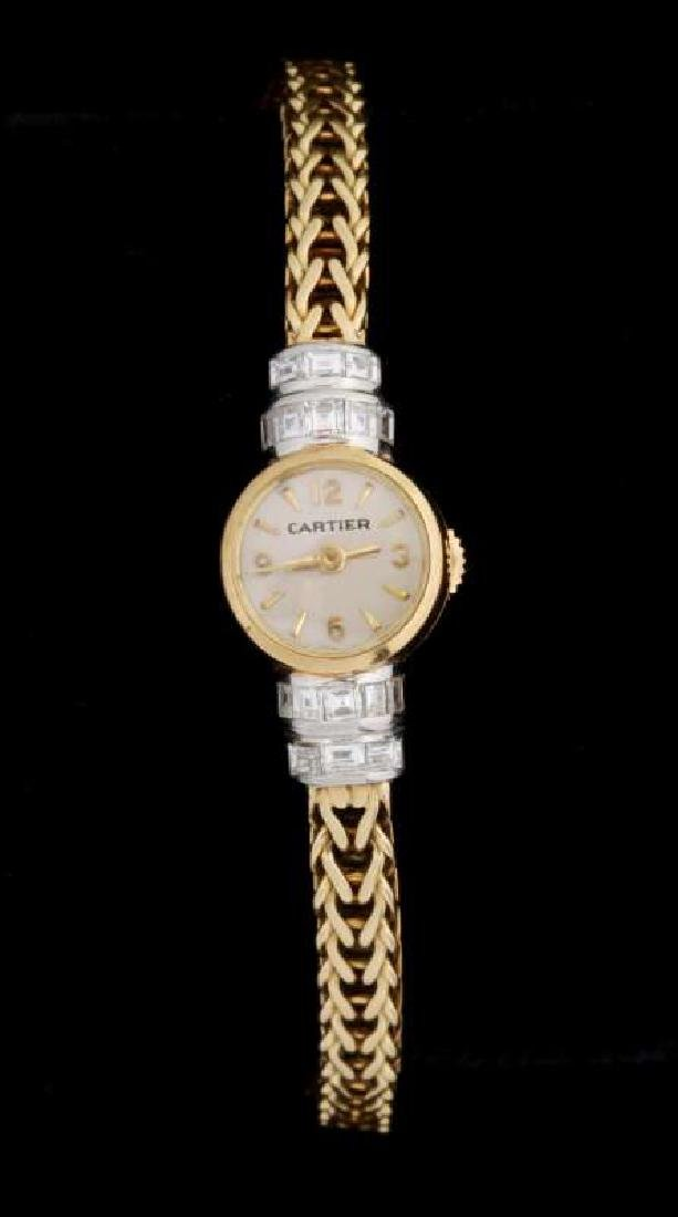 VINTAGE LADIES 18K WATCH BY LECOULTRE FOR CARTIER