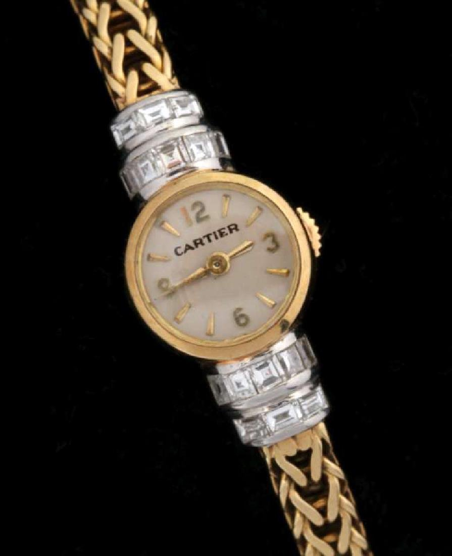 VINTAGE LADIES 18K WATCH BY LECOULTRE FOR CARTIER - 2