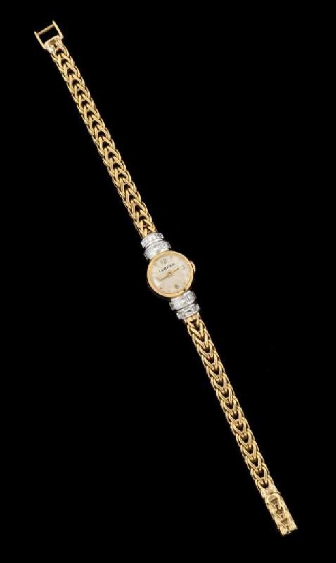 VINTAGE LADIES 18K WATCH BY LECOULTRE FOR CARTIER - 3