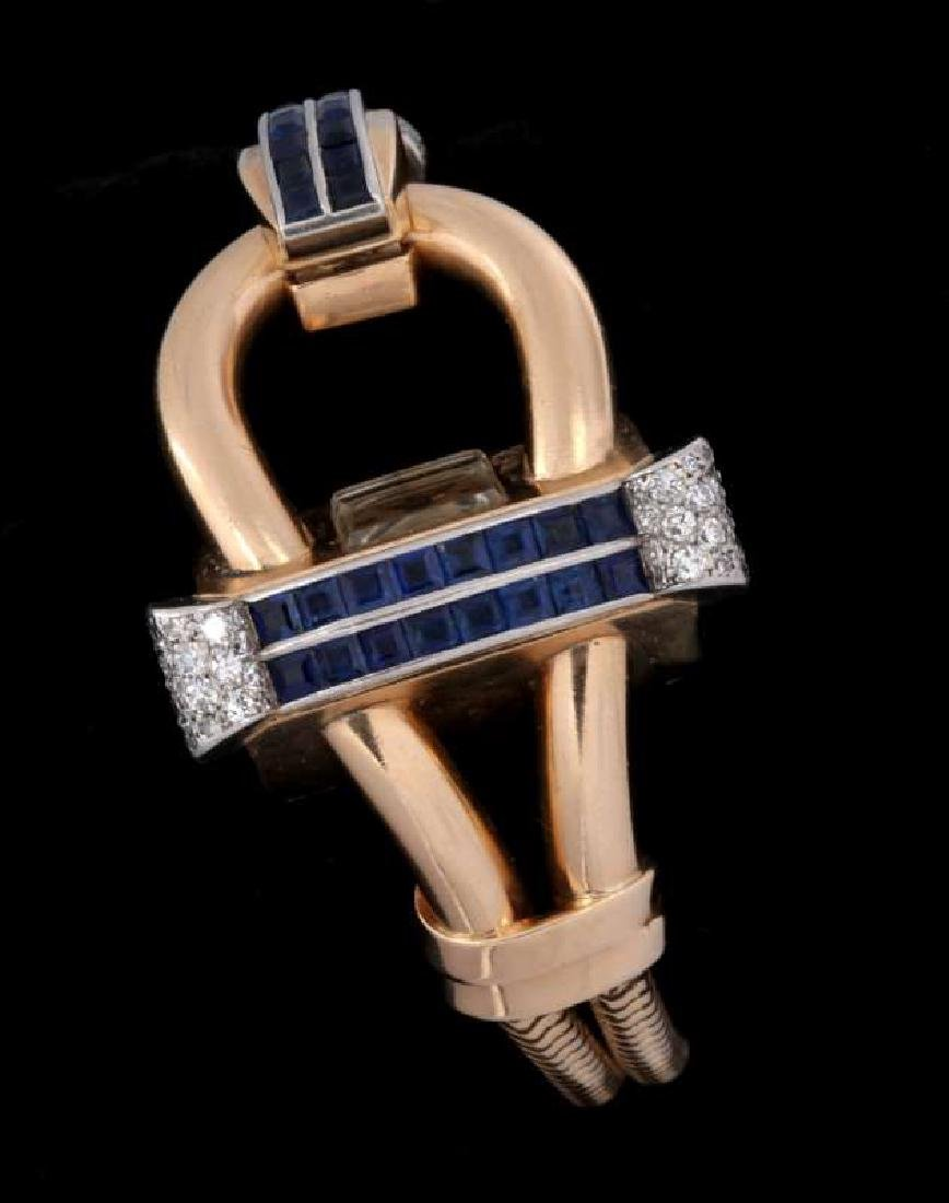 ART DECO 14K DIAMOND AND SAPPHIRE BRACELET WATCH