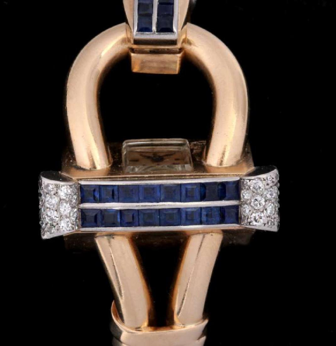 ART DECO 14K DIAMOND AND SAPPHIRE BRACELET WATCH - 2