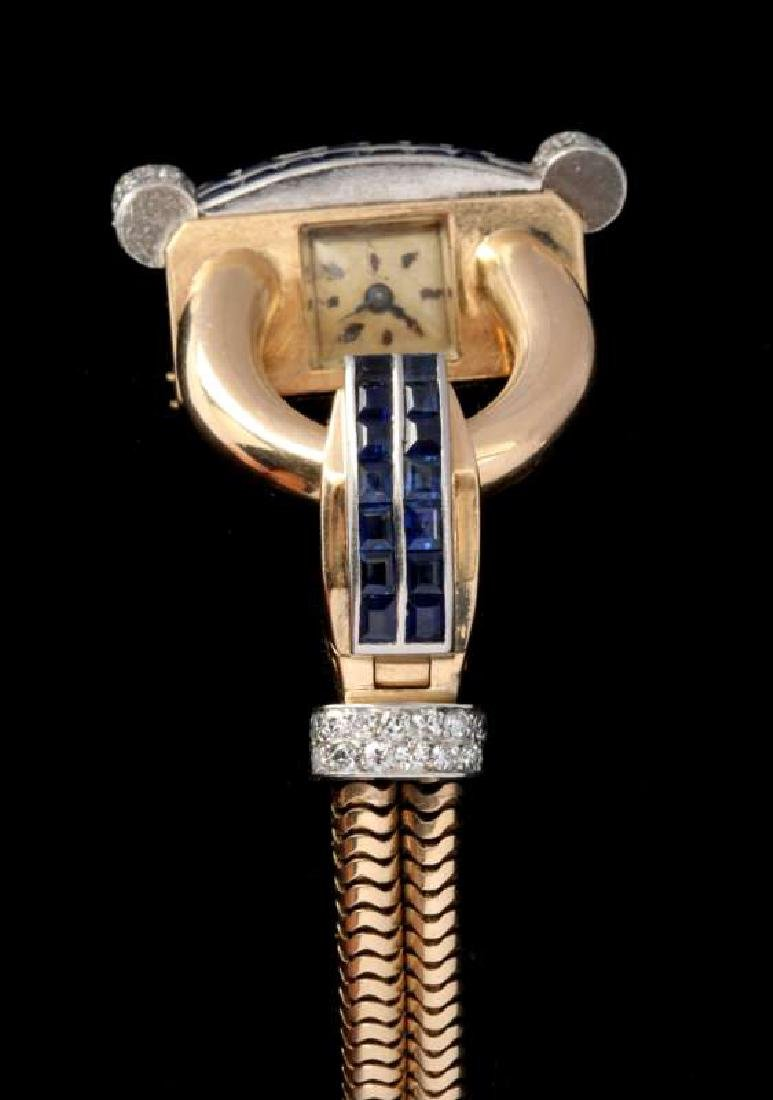 ART DECO 14K DIAMOND AND SAPPHIRE BRACELET WATCH - 3