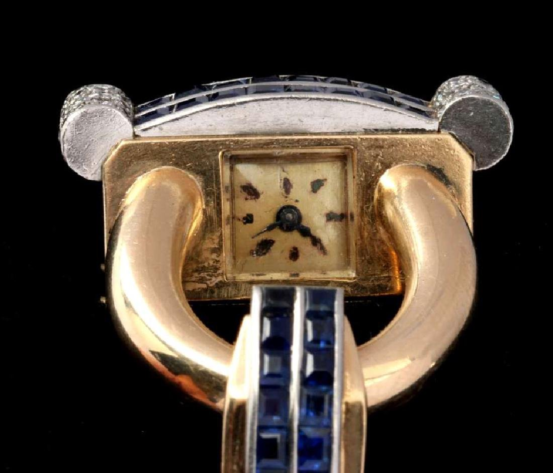 ART DECO 14K DIAMOND AND SAPPHIRE BRACELET WATCH - 4
