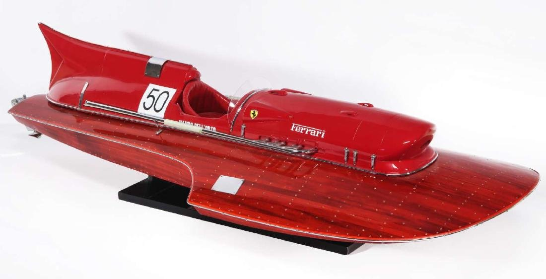 A HAND MADE FERRARI HYDROPLANE BOAT MODEL