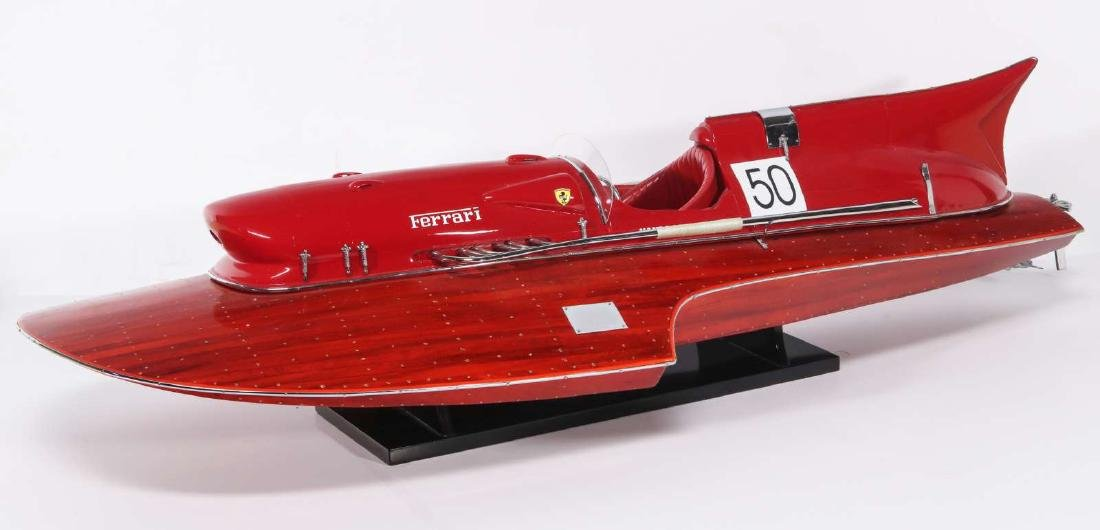 A HAND MADE FERRARI HYDROPLANE BOAT MODEL - 4