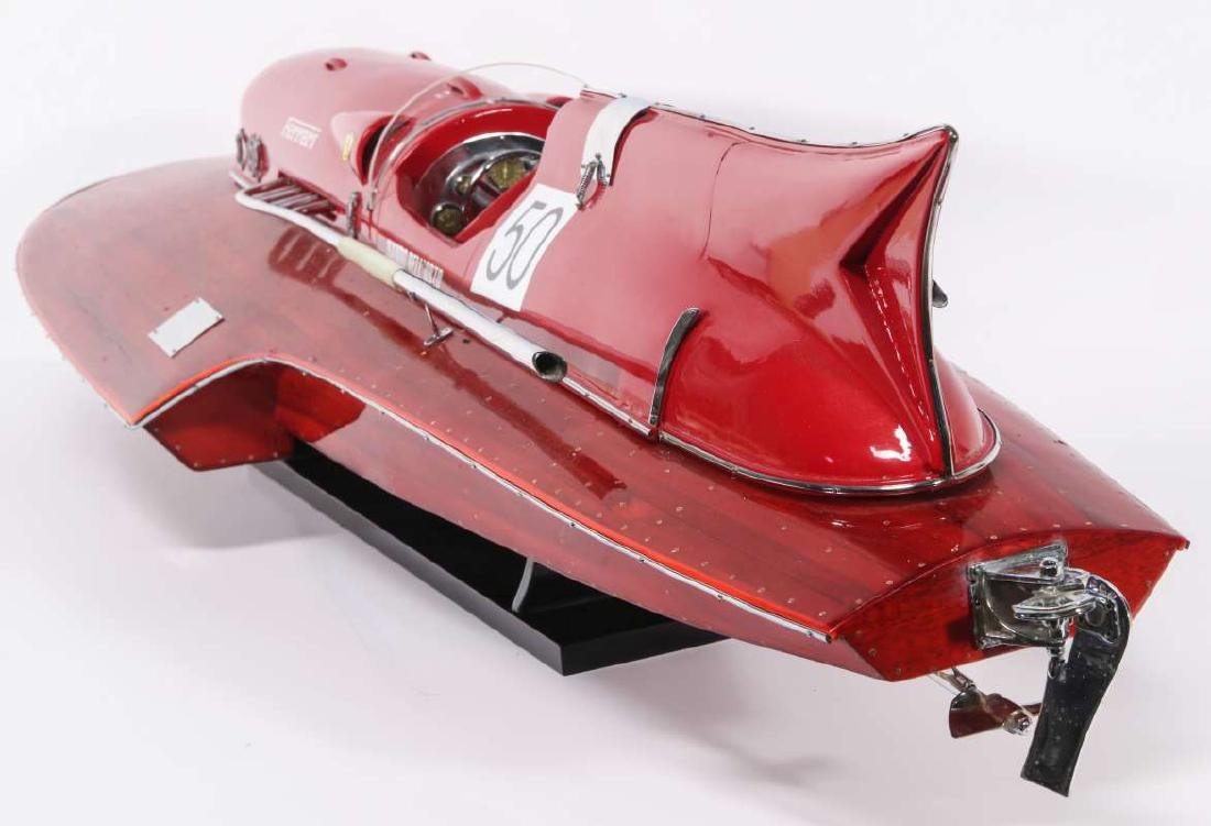 A HAND MADE FERRARI HYDROPLANE BOAT MODEL - 5