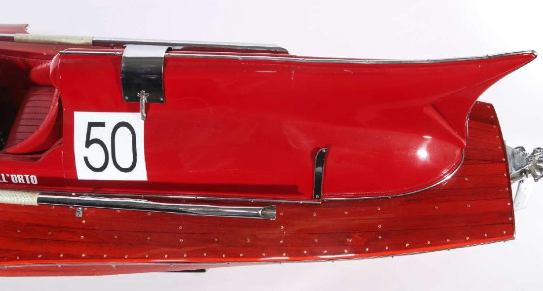 A HAND MADE FERRARI HYDROPLANE BOAT MODEL - 8