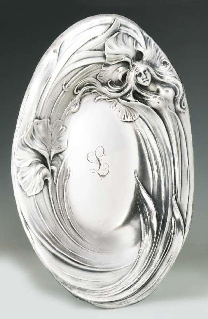 AN ART NOUVEAU STERLING SILVER TRAY WITH MAIDEN