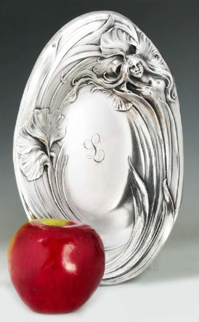 AN ART NOUVEAU STERLING SILVER TRAY WITH MAIDEN - 2