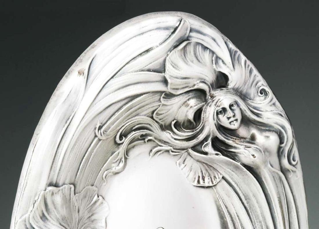 AN ART NOUVEAU STERLING SILVER TRAY WITH MAIDEN - 3