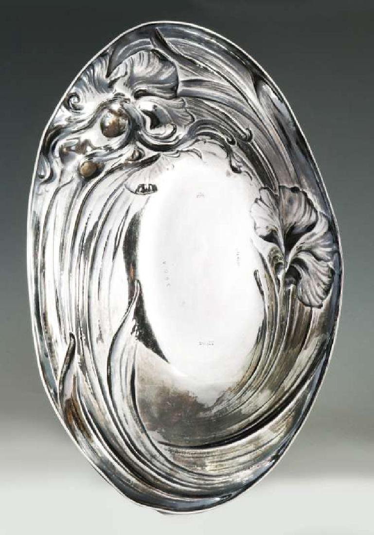 AN ART NOUVEAU STERLING SILVER TRAY WITH MAIDEN - 6