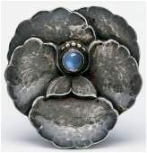 GEORG JENSEN STERLING BROOCH WITH MOONSTONE 113