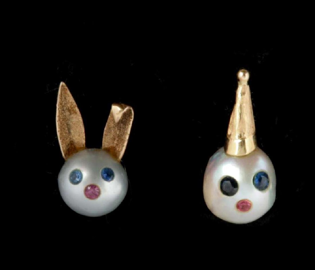 TWO PEARL AND 14K GOLD FIGURAL LAPEL PINS