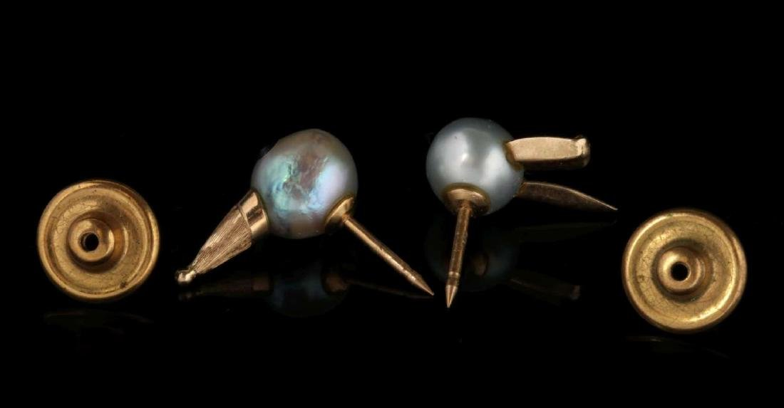 TWO PEARL AND 14K GOLD FIGURAL LAPEL PINS - 5