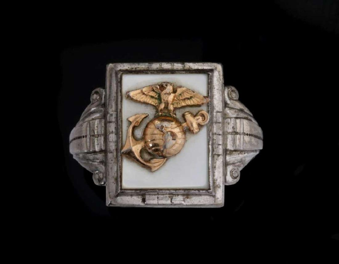 A VINTAGE STERLING U.S. MARINE CORPS RING - 2