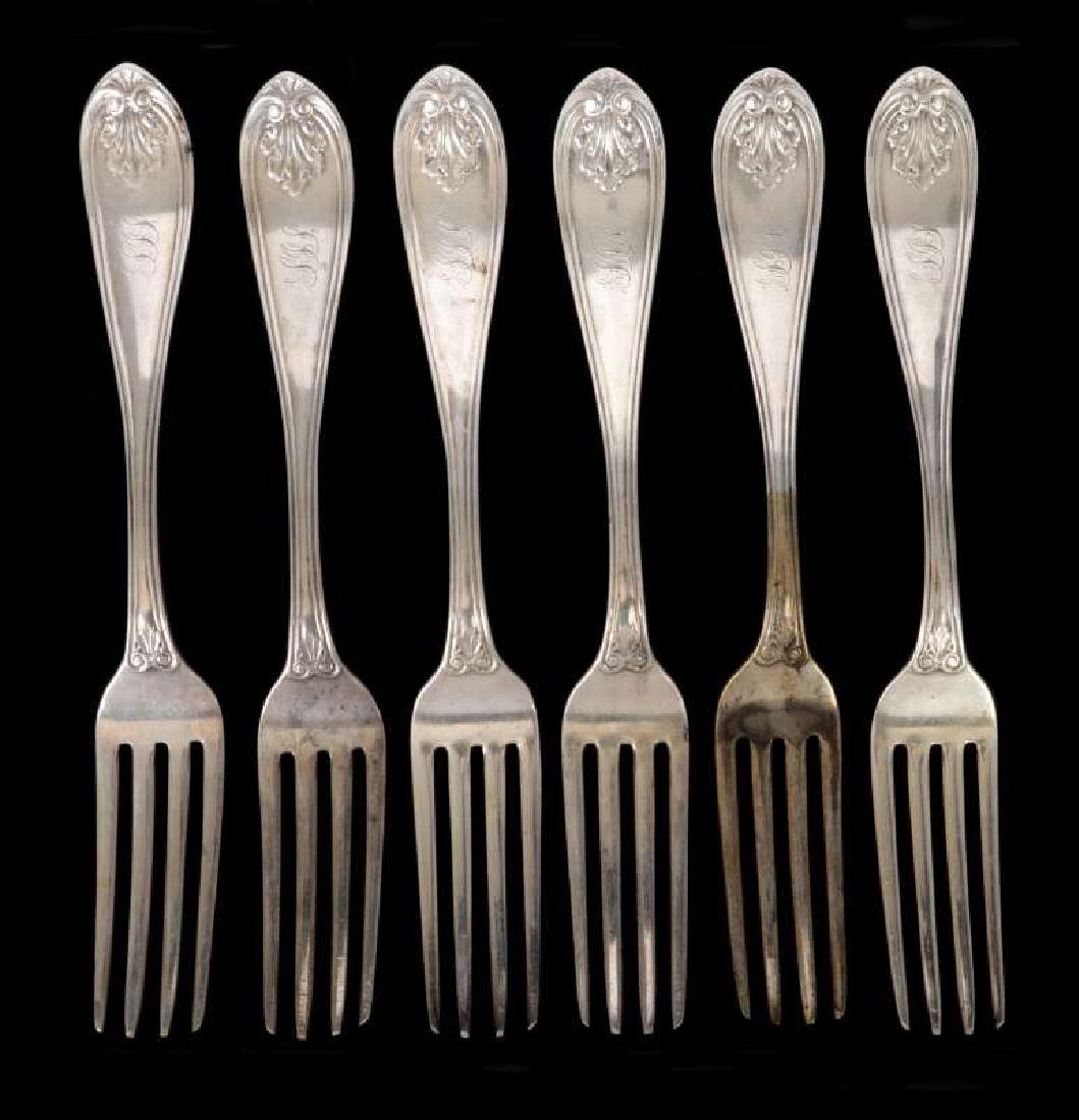 SIX W.W. WATTLES COIN SILVER FORKS