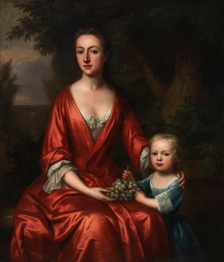 AN 18TH C. BRITISH SCHOOL MOTHER & CHILD PORTRAIT