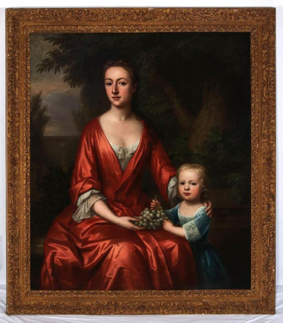 AN 18TH C. BRITISH SCHOOL MOTHER & CHILD PORTRAIT - 2