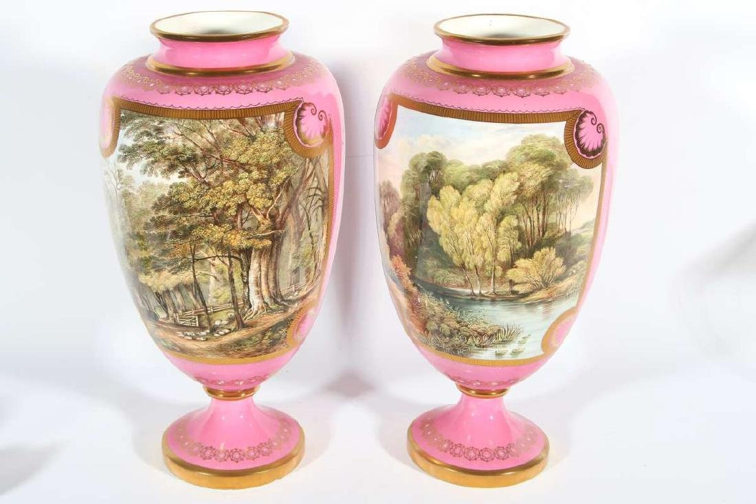 A PAIR OF DAVENPORT PORCELAIN VASES 13 INCHES HIGH
