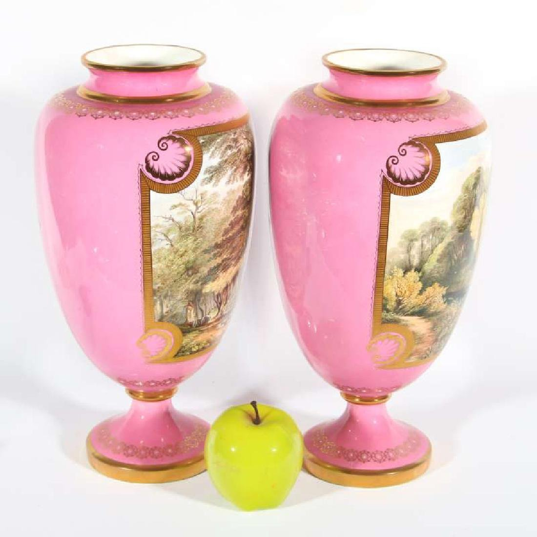 A PAIR OF DAVENPORT PORCELAIN VASES 13 INCHES HIGH - 2