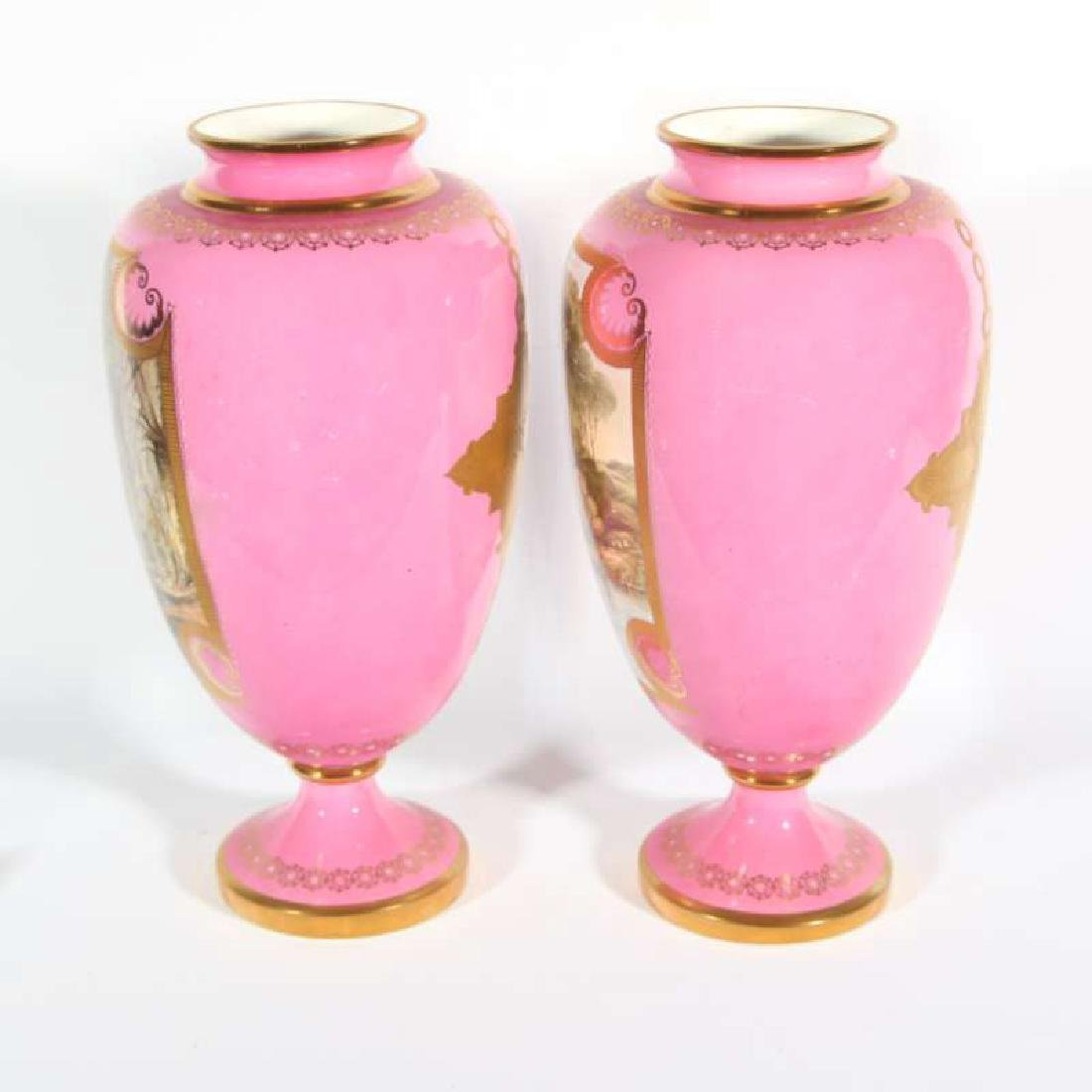 A PAIR OF DAVENPORT PORCELAIN VASES 13 INCHES HIGH - 4