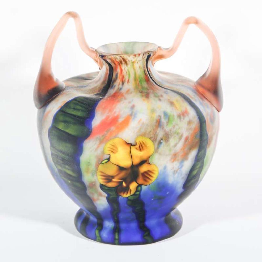 KARLA MARQUETRY ART GLASS SIGNED CZECHOSLOVAKIA