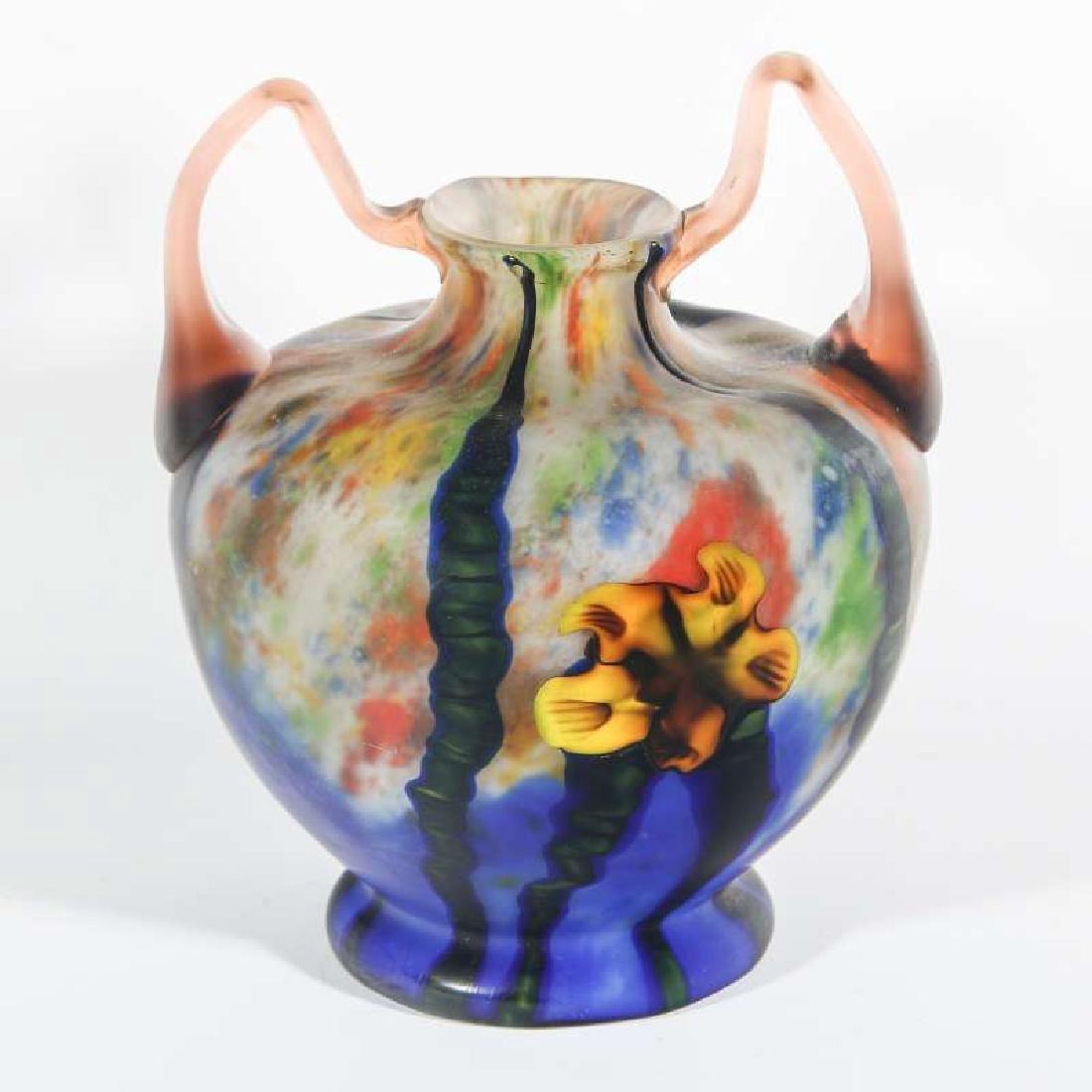KARLA MARQUETRY ART GLASS SIGNED CZECHOSLOVAKIA - 3