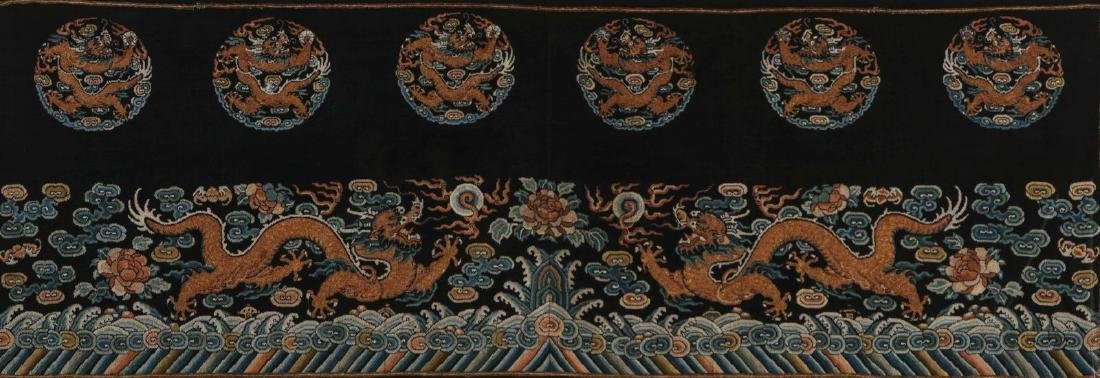A CHINESE GOLD THREAD EMBROIDERED PANEL