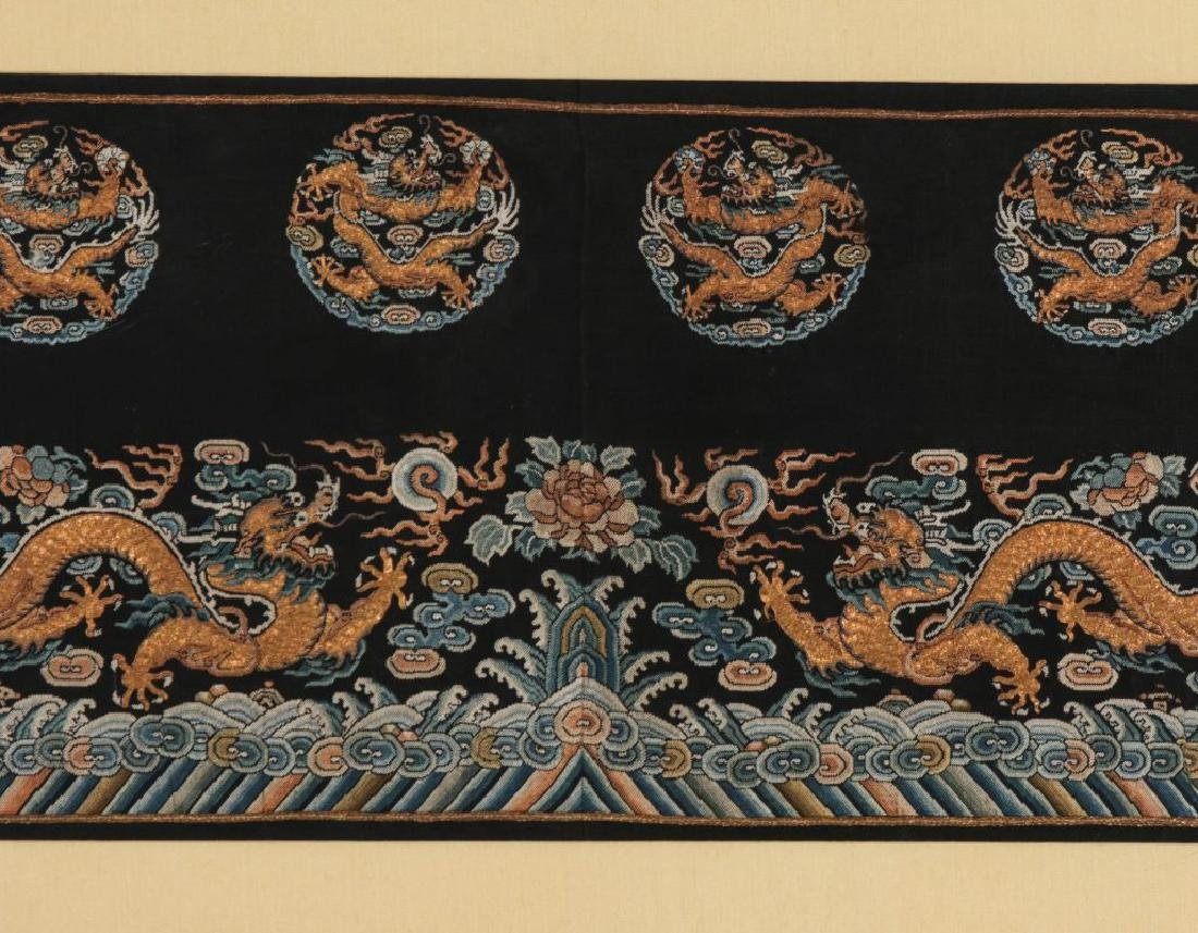 A CHINESE GOLD THREAD EMBROIDERED PANEL - 4