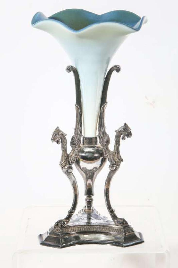 STEUBEN BLUE AURENE TRUMPET IN SILVER PLATED STAND - 5