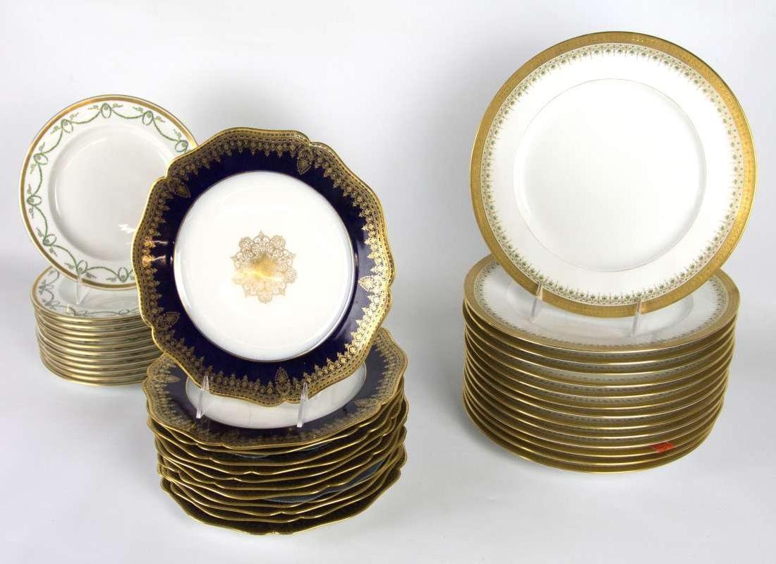 LIMOGES AND CROWN DERBY SERVICE PLATES