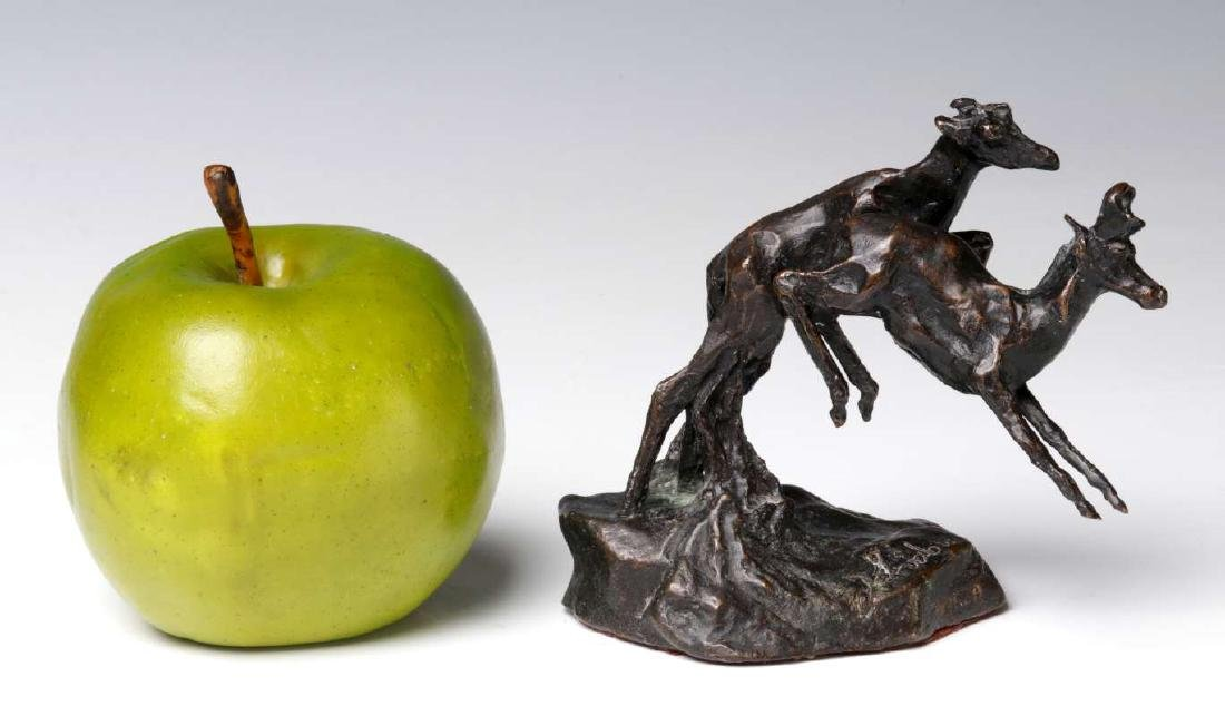 A 20TH C. BRONZE SCULPTURE LEAPING PRONGHORN - 2