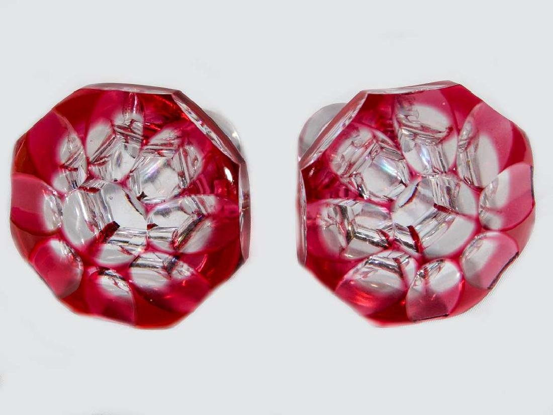 BOHEMIAN CRANBERRY CUT TO CLEAR DECANTER PAIR - 7