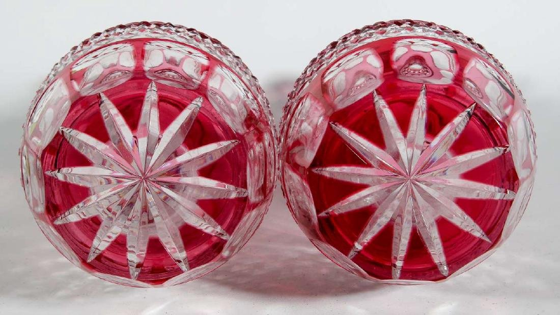 BOHEMIAN CRANBERRY CUT TO CLEAR DECANTER PAIR - 9