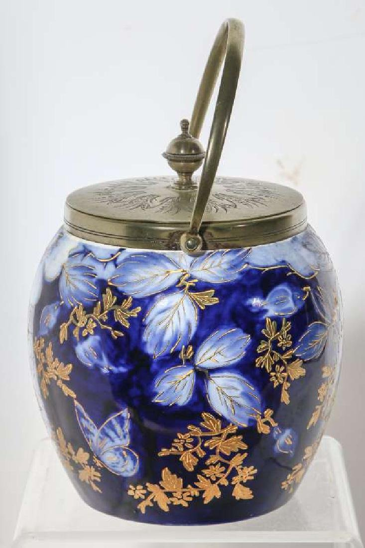 A GOOD FLOW BLUE BISCUIT JAR CIRCA 1890 - 4