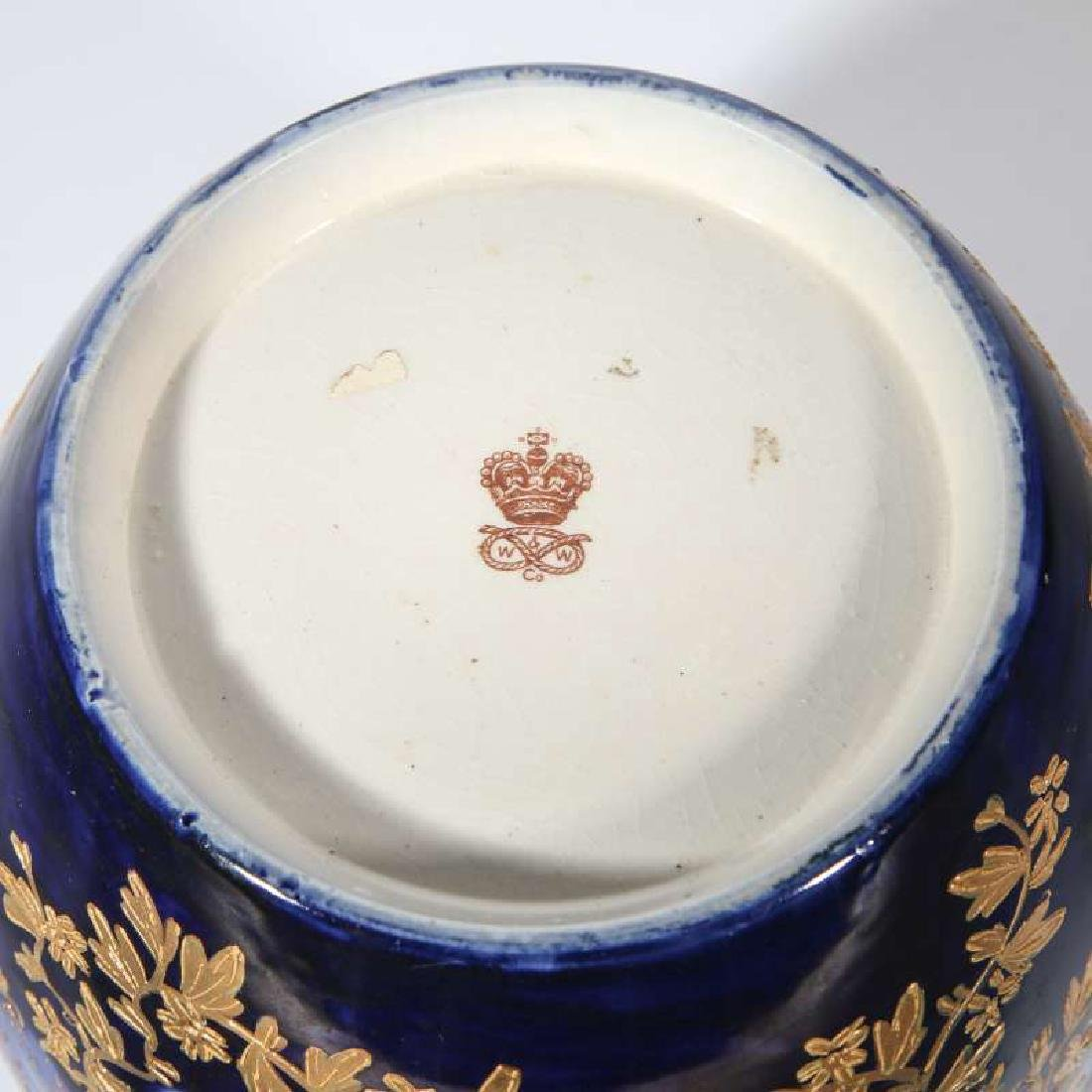 A GOOD FLOW BLUE BISCUIT JAR CIRCA 1890 - 6