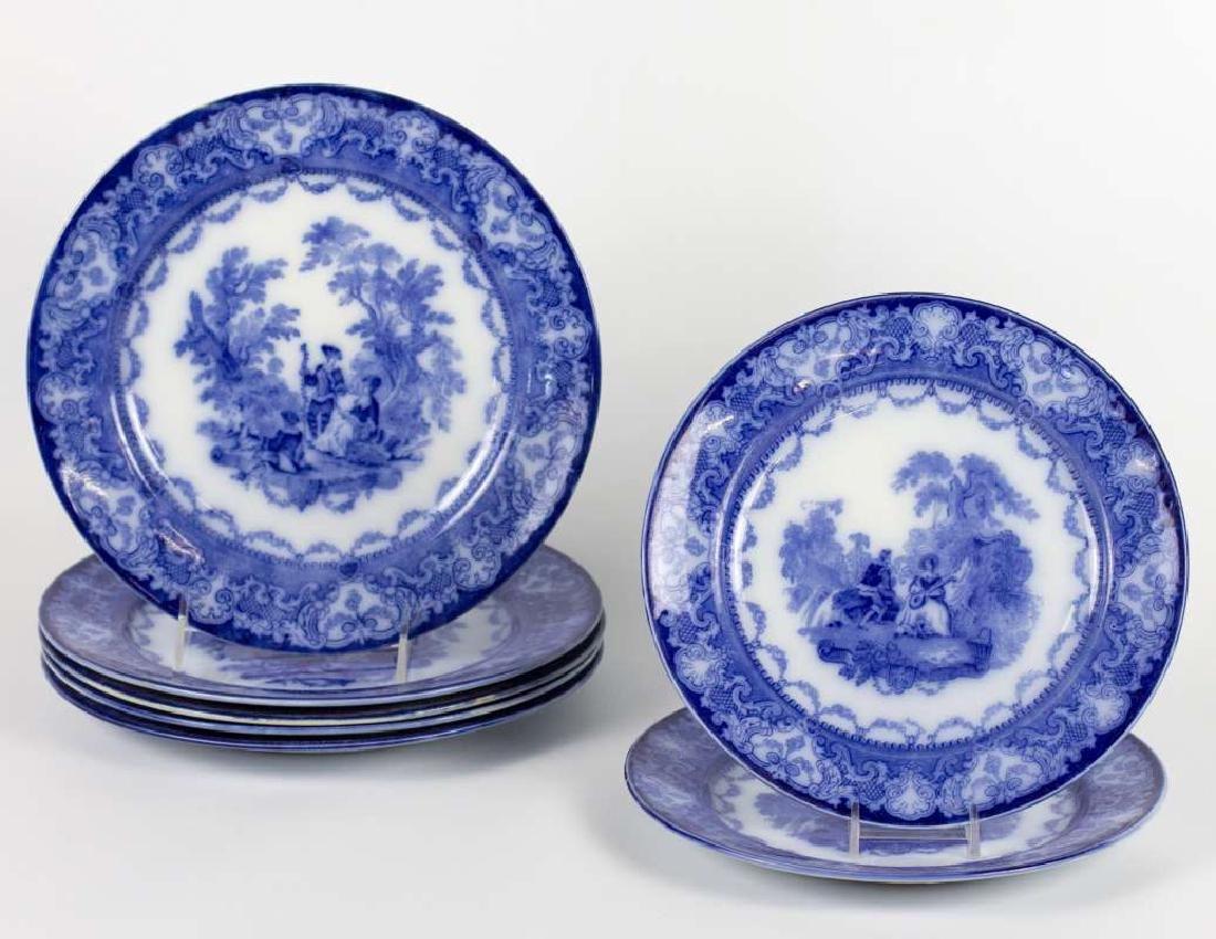SEVEN WATTEAU PATTERN FLOW BLUE PLATES