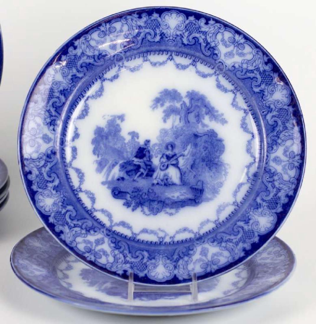 SEVEN WATTEAU PATTERN FLOW BLUE PLATES - 2