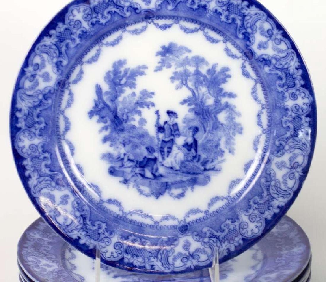 SEVEN WATTEAU PATTERN FLOW BLUE PLATES - 3
