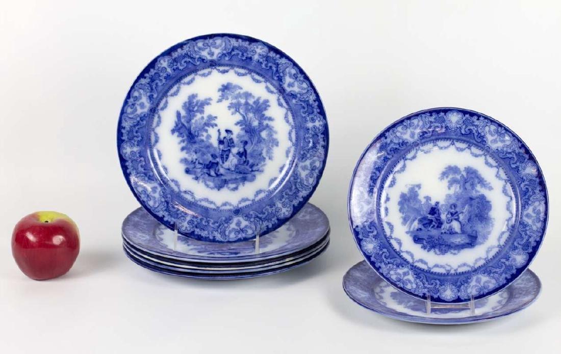 SEVEN WATTEAU PATTERN FLOW BLUE PLATES - 4