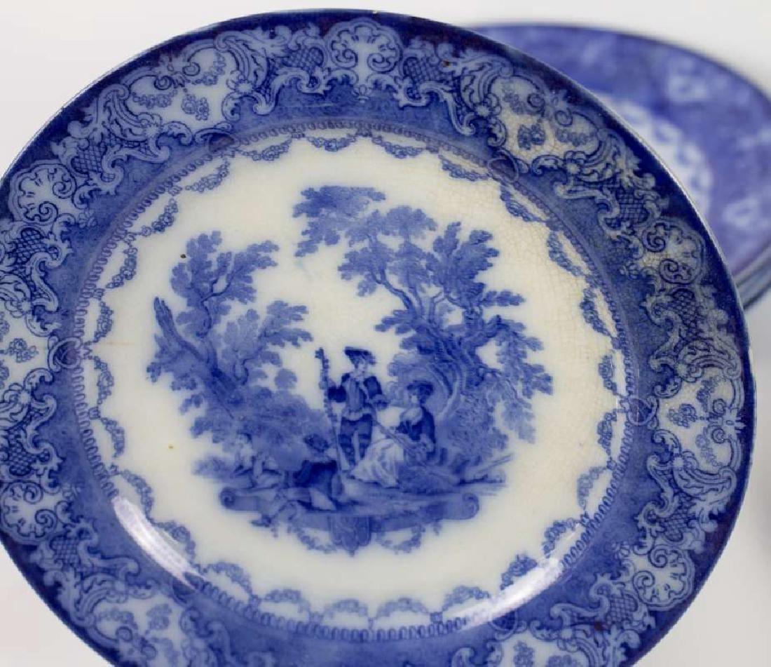 SEVEN WATTEAU PATTERN FLOW BLUE PLATES - 5